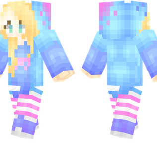 Bright Girl Minecraft Skin - Blonde girl wearing a very bright and colourful outfit.