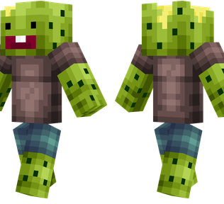 Cactus Boy Minecraft Skin - A living cactus wearing a t-shirt and shorts.