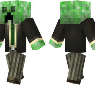 Cheeper Minecraft Skin - A creeper wearing a cheap suit.