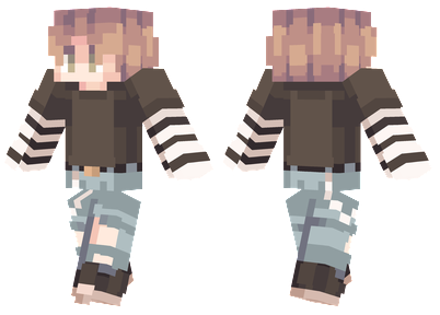 E-Boy Minecraft Skin - Boy with blonde hair wearing ripped jeans and a black top.