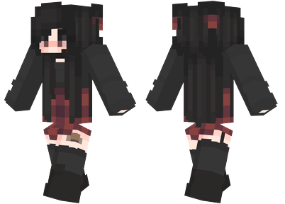 Emo Girl Minecraft Skin - Emo girl wearing a dark red and black outfit.