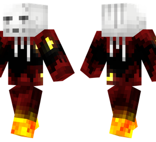 Ghast Minecraft Skin - Ghast flying above lava in the nether.