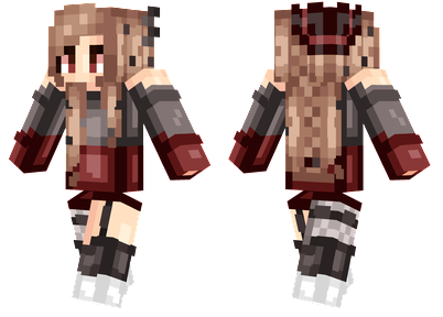 Jayne Minecraft Skin - Girl with a red and gray shirt and a witch hat.