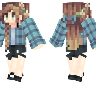 May Minecraft Skin - A girl with light brown hair and a daisy flower crown.