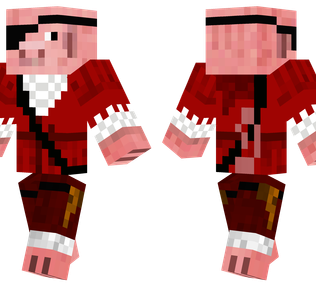 Pirate Pig Minecraft Skin - A pig wearing a pirate outfit complete with eye patch.