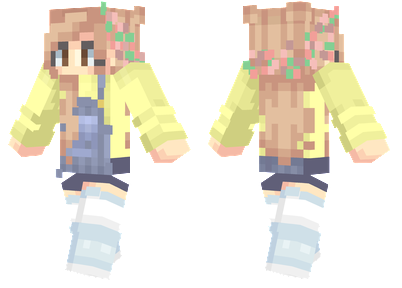 Rainboots Minecraft Skin - A girl with blonde hair, overalls and white rainboots.