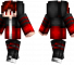 Red Hair Minecraft Skin - A boy with red hair and red eyes wearing a black and red outfit.