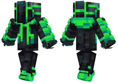 Slime Robot Minecraft Skin - Cyberpunk robot with a slime green outer layer.