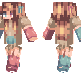 Split Minecraft Skin - A girl wearing a two-color hoodie with brown hair and two different colored eyes.