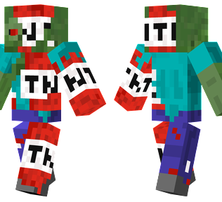TNT Zombie Minecraft Skin - Zombie infected with the Minecraft TNT block.